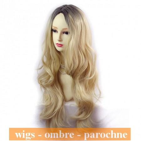 Nádherná dlhá Ombré parochňa zlatý blond a čierna 0e8488b42b9