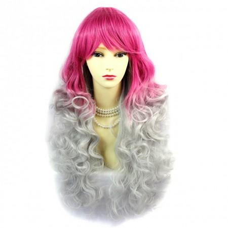 Romantická dlhá kučeravá Ombre parochňa šedivo-ružová 45 Eur 958557dd538