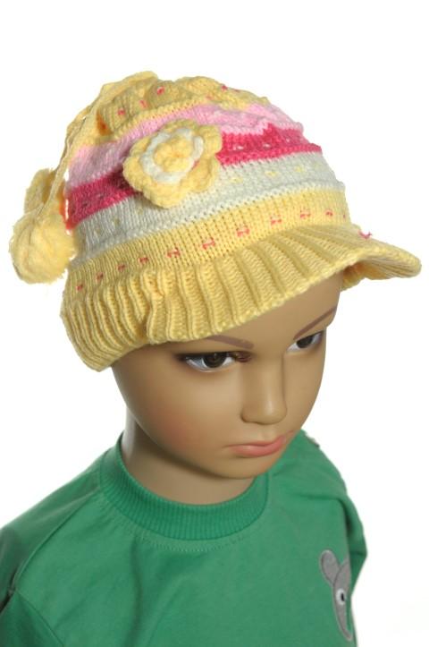 ad44b4a0e189 Detské čiapky pre bábätká s kvetinkou a brmbolcom